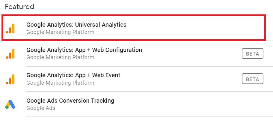 Google analytics tag selector