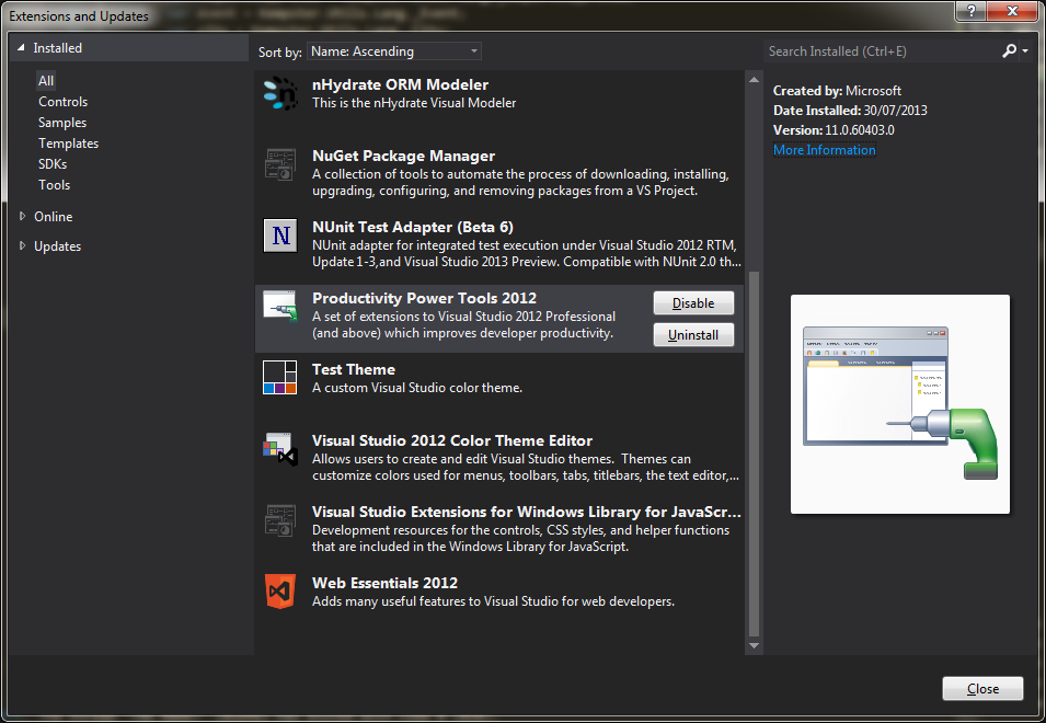 Visual Studio 2012 extensions window