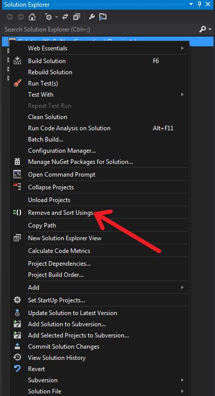 Remove and sort context menu