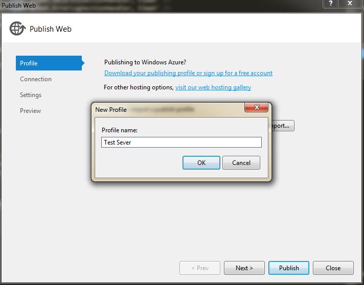 Visual Studio profile name in publish settings