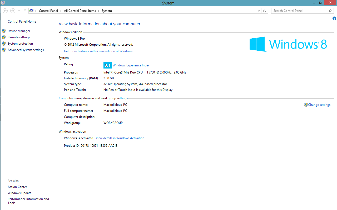 Windows 8 specifications