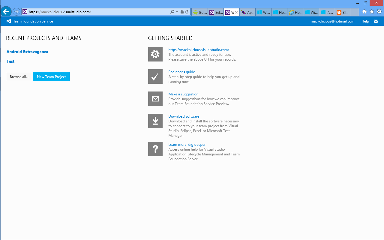 Team Foundation Service home page